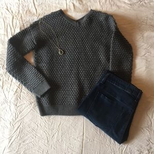 Vince Gray Pullover V-Neck Sweater